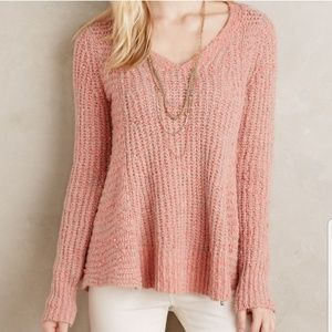 Anthro Moth zipped stitch chunky pullover sweater